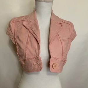 Pink denim crop vest / jacket